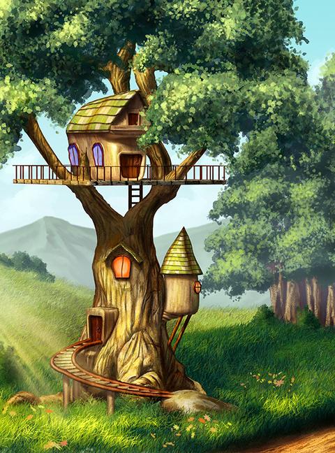 А2-021  Домик на дереве 200*270  фотопанно