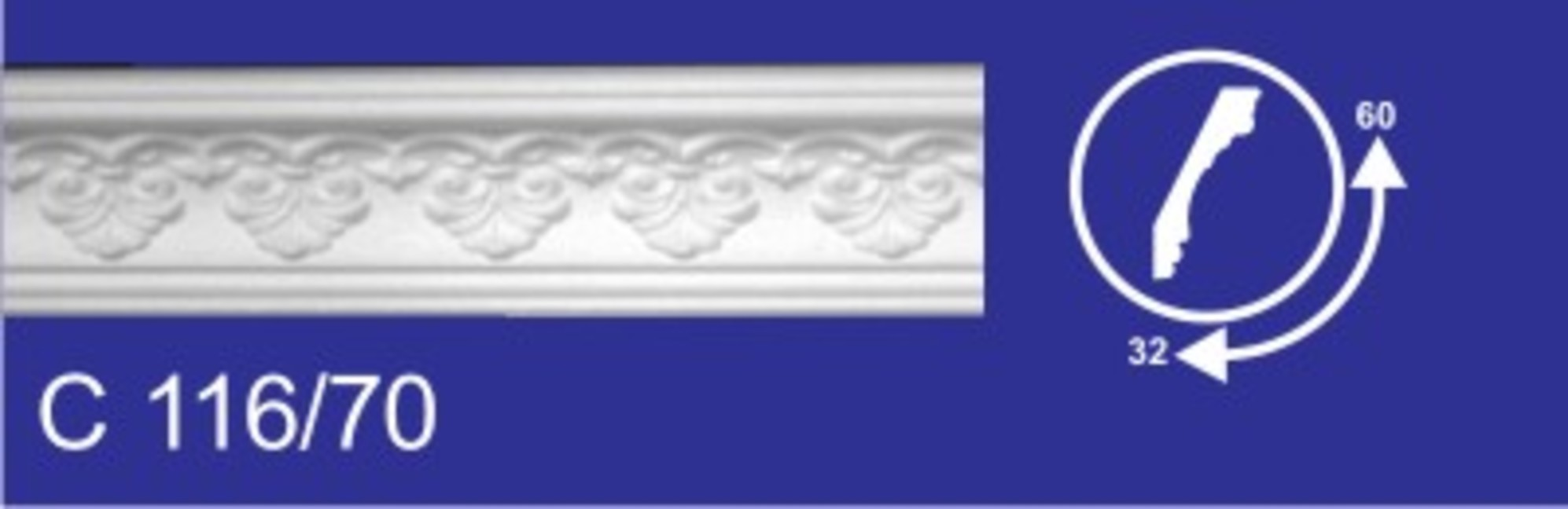 116/70/32*60*2000/Плинтус потолочный Wikibau1/50